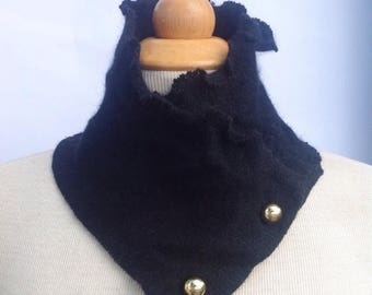 SALE Handmade black soft wool scarflette neck warmer with gold button details. Upcycled. Felted wool. Winter wear.