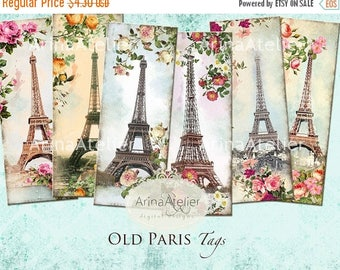 SALE - 30%OFF - Old Paris Tags - Bookmarks - Hang Tags - Vintage Collage - gift Tags, scrapbooking, mixed media, altered art