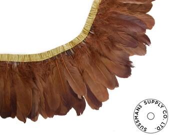 "Feather Trim - Goose Feather Satinette Fringe Trims - Milk Chocolate - 5""-7"" (1 yard)"