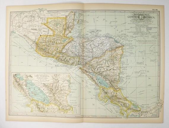 Antique Map Central America Map Guatemala Map Honduras - Nicaragua map honduras