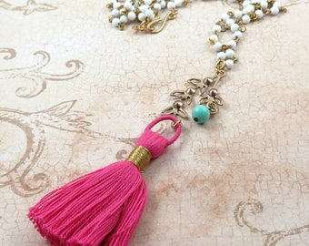 Pink Tassel Necklace, White Bead Strand Necklace, Boho Long Necklace, Tassel Jewelry, Turquoise Jewelry