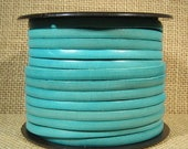 5mm Flat Leather - Distressed Turquoise - 5F-44 - Choose Your Length