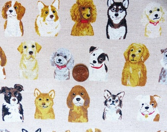1/2 yard - Puppy friends, Kokka  Japanese import