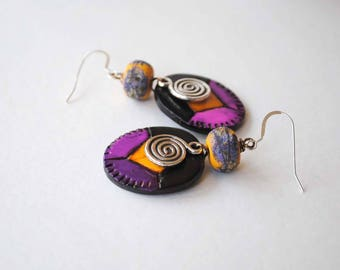 Colorful Geometric Earrings, Polymer Clay Earrings, Bright Colored Jewelry, Light Weight Earrings, Funky Artisan Earrings