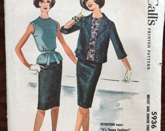 End of May Sale McCall's 5936 Vintage blouse, skirt and jacket suit Mid-Century Modern Madmen
