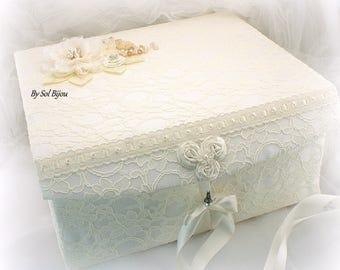 Keepsake Box, Ivory, Cream, Gold, Lace Box, Wedding Box, Girl Keepsake Box, Baby Keepsake, Memory Box, Lace, Pearls, Crystals