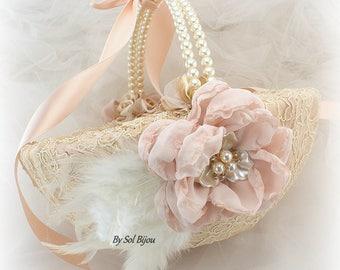 Flower Girl Basket,Champagne,Gold,Rose,Rose Gold,Blush,Vintage Wedding,Elegant Wedding,Feather Basket,Pearls,Crystals,Lace Basket,Gatsby