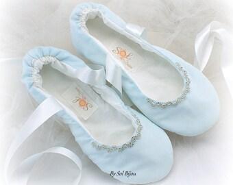 Blue Ballet Flats,Ballet Slippers,Light Blue,Something Blue,Beaded Ballet Flats,Wedding Shoes,Cotton Flats,Flower Girl Shoes,Elegant Flats
