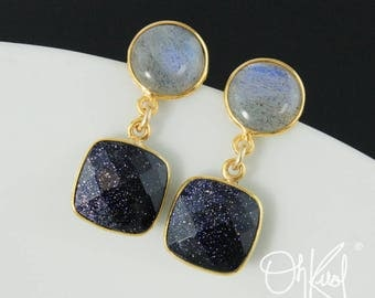 Blue Labradorite & Blue Midnight Sunstone Earrings - Cushion Sunstone Earrings - Dangle Earrings