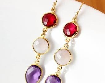 ON SALE Gold Red Ruby Quartz, Pink Chalcedony & Purple Amethyst Earrings - Pop of Colour - 14K Gf