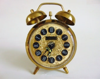 Vintage Wind Up Alarm Clock West Germany Steam Punk Boudoir