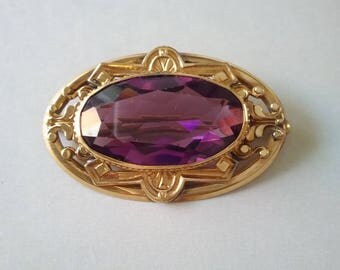 Victorian Brooch Pin Gold Filled Purple Amethyst Paste Crystal Stone Classic Antique  F. M. CO  Free Shipping To The Usa And Canada