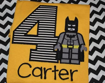 Lego Batman inspired birthday shirt - baby bodysuit, tshirt, or dress- you pick colors- any number you choose