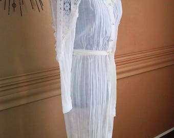 Vintage 1970s White Lace Victorian Steam Punk Dress