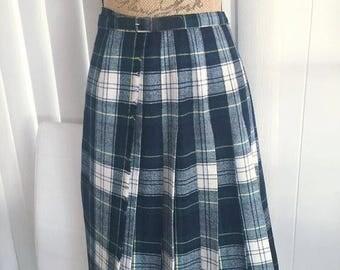 Memorial Day Sale 25% OFF Sale Vintage  Black Watch Modern Dress Ladies Kilt -- Size M-L Retro Preppy