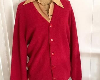 Memorial Day Sale 25% OFF Sale Hep Vintage Men's Red Wool Cardigan -- Retro - Hipster - Size L