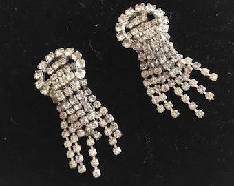 Vintage Rhinestone Chandelier Drop Earrings -- Clip On -- 50's 60's Glamor