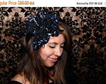 CIJ SALE Black Beaded & Sequin Flower Headband/Fascinator