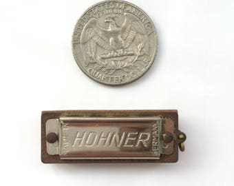 80s Vintage Hohner 39 Mini Harmonica Pendant Keyring