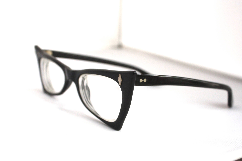 RARE Vintage 1950s Cat Eye Glasses // 50s Black Pointed Geometric ...