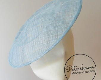 Extra Large 29cm Round Saucer / Plate Sinamay Fascinator Hat Base for Millinery - Light Blue