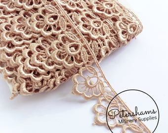 Plump Flower Guipure Lace Floral Embroidered Trim 1m (1.09 yards) - Latte