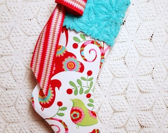 Peacock Stocking | Pretty Bird Heirloom Christmas Stocking with Turquoise Vintage Chenille Cuff and Ribbon Candy Bow