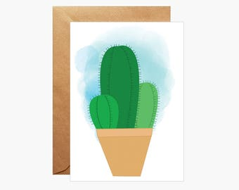 Cactus art Card, Cacti greetings Card, Card For Her, gardener gift, new home card, succulent card, Cactus Plant Art Card, Blank card