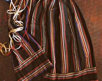Spring SALE Vintage 80s ribbon striped skirt / Holiday Party shimmer striped skirt