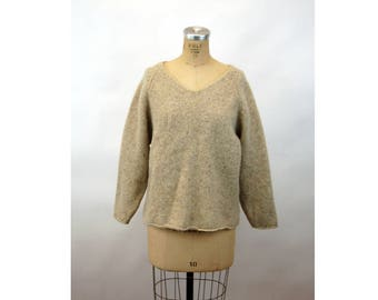 1980s sweater wool pullover oatmeal heather v neck baggy Woolrich Size M