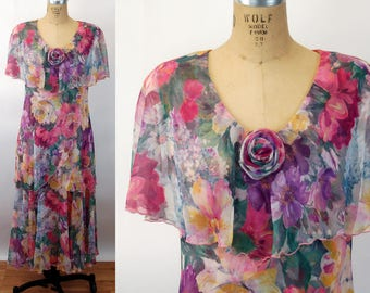 80s does 20s chiffon dress floral sheer capelet tiered ruffled dress Cattiva Size M/L