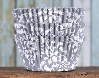 Gray Cupcake Liners, BakeBright Cupcake Liners, Gray Damask Cupcake Liners, Gray Baking Cups, Cupcake Cases, Wedding Cupcake Wrappers (50)