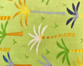 Fabric Finders multi colored pams on lime Fabric by the yard