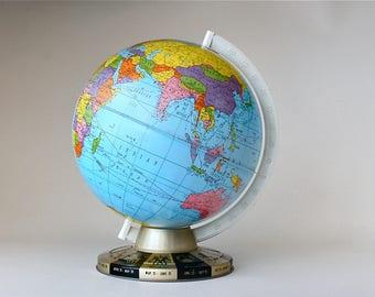 "Vintage 9"" Ohio Art Globe Tin Lithograph World Globe Zodiac Base Map Of The World Planet Earth Home Decor 1960s"