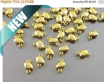 15% SALE 10 pcs shiny gold tiny pebble connectors, oval connectors, round charms 2130-BG (10 pcs)