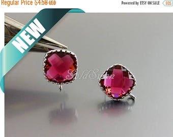 15% SALE 2 pcs / 1 pair pink red ruby crystal glass square shaped earrings, ruby stone earrings 5155R-RU