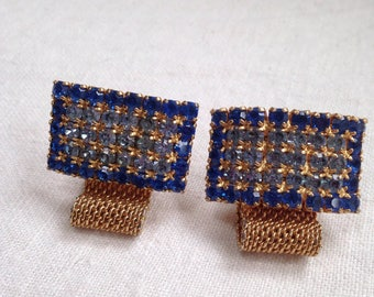 Big Bold Blue Rhinestone Cufflinks Gold Tone Mesh