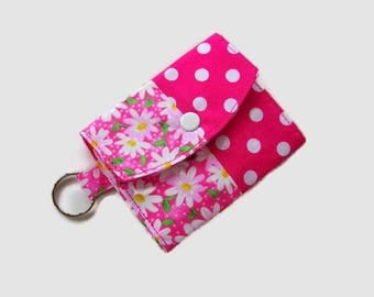 Pink Mini Wallet with Key Ring - Pocket Credit Card Holder - Optional Key Fob - ID Holder - Small Travel Wallet - Pink Key Ring Wallet