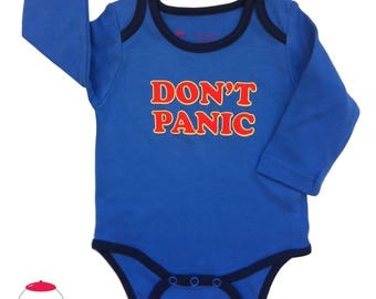 Don't panic - cool baby bodysuit - the hitchhiker's guide to the galaxy