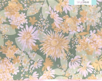 Vintage Green Twin Flat Sheet with Yellow Floral