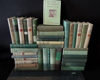 Green Beige Mix Book Wall - Vintage Books for Decor - Rustic Worn Distressed Books by Color By the Foot - 4 Feet of Books