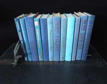 Ocean Blue Vintage Books by the Foot - Blue Book Stack Vintage - Books for Decor - Instant Library Collection - Wedding Centerpiece