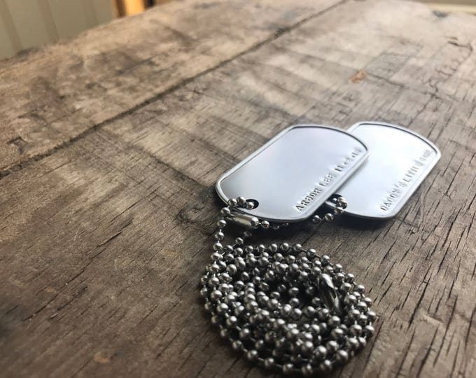 2 Daddy tags Men's Necklace Stainless Steel GPS Personalized Men's Coordinates Necklace Longitude Latitude Dad Dog Tags