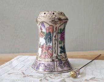 Vintage Porcelain Handpainted HATPIN HOLDER Noritake Moriage - Floral Raised Gilt Hat Pin Holder