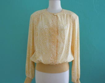 80's sunny yellow buttoned blouse // 80's yellow top ~ medium large