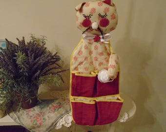 Baby Accessories Hand Made Wall Hanging For A Babies Room  Handmade Kitty With Pockets