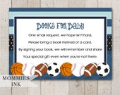 Sports Books for Baby Insert, Allstar Bring a Book Insert, Allstar Book Request, Shower Printable, Stock Baby's Library, Allstar Insert