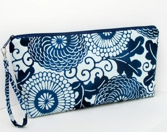 Knitting Project Bag, Large Zipper Pouch, Indigo Blue Asian Mumm