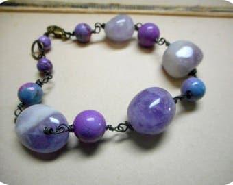 The Iris Bracelet. Amethyst & Candy Jasper Orchid, Pink, Lavender, and Blue Gemstone chunky boho bracelet