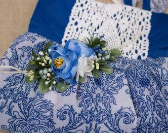 Skinny Stretch Flower Headband - White & Blue with Greenery - m2m Well Dressed Wolf Blues Traveler - July Fourth - Memorial - America